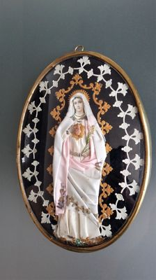 Large monastery work, fabric Mary Madonna convex glass Nun