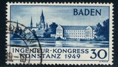 French Zone Baden - 1949 - Engineer Convention in Constance 2nd Edition, Michel 46 II