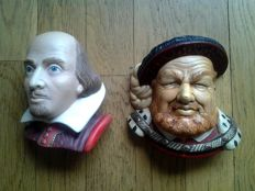 Two vintage Bossons heads: King Henry VIII & William Shakespeare - approx. 1965 and 2000