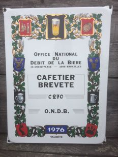 Original Enamel sign from Brussels 1976.