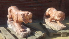 Set of 2 life-size marble tigers (gatekeepers)
