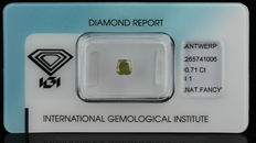 0.71 ct. Natural Fancy Greenish brownish Yellow Diamond - NO RESERVE