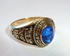 American high school ring – 'Panthers' – original by Josten's with a blue stone