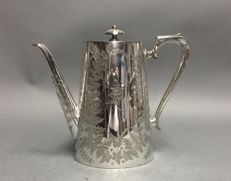 Silver plated Victorian coffeepot with silver plated handle, Richard Hodd & Son, England, ca. 1880
