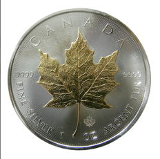 Canada - 5 CAD maple leaf 2014 - with 24 carat gold edition - 999.9 silver