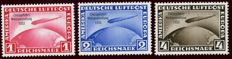 German Empire/Reich - 1933 - Chicago journey Graf Zeppelin, 1 RM, 2 RM, 4 RM, Michel 496-498
