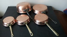5 copper pans from France