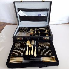 SBS Solingen - 69 part gold-plated luxury cutlery for 12 persons - 23/24 karat - 1000 fine gold - hard gold-plated in original box - not used
