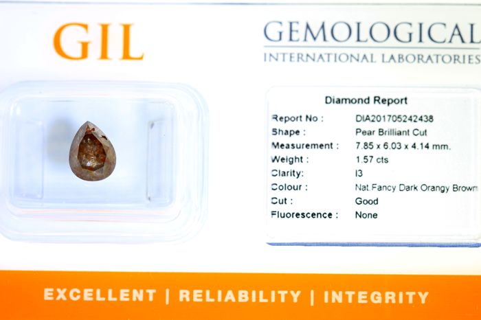 Diamant  1.57 ct - Fancy Dark Orangy Brown - Zonder Reserve Prijs
