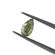Natural Chameleon diamond, Fancy Grayish greenish yellow 0.61 ct. Diamond, GIA Certified