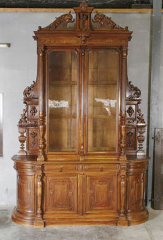 Very large Henry II Walnut bookcase - France - 1890-1900