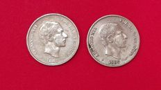Spain. Alfonso XII. 50 cents (half a peso). 1881 and 1885 (2 coins)