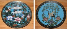 Pair of Cloisonné plates - Storks -