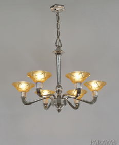VERRERIES DES HANOTS  - modernist Art Deco chandelier - nickeled bronze and amber coloured pressed glass