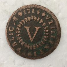 Portugal – Monarchy – D. Joao V – V Reis – 1714 – Copper