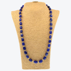 18k/750 yellow gold necklace with sapphires and citrines - Length: 69 cm.