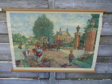 Two school posters: 'A place by the Vecht' and 'A summer afternoon with the Muiderkring'