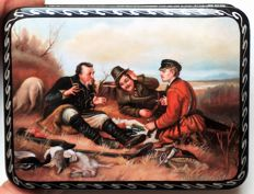 """Russian lacquer box  -""""Fedoskino"""" - A copy in miniature of Perov's painting -""""The Hunters at Rest"""""""