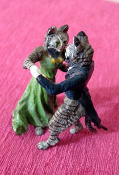 Viennese bronze stamped dancing cats couple