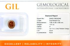 Diamant  1.91 ct - Fancy Deep REDDISH ORANGE - Zonder Reserve Prijs
