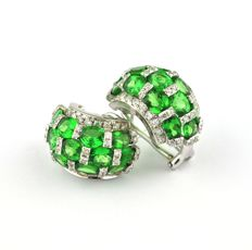 Diamond (2.00ct G / SI) & Green Peridot set on 18k White Gold Earrings - Size 20mm x 14mm - VERY Good Condition