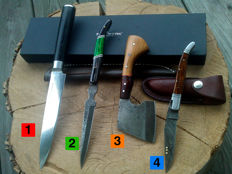 1 x Authentic Damascus Steel knife / kitchen knife + 1 x Damascus Steel hunting knife + 1 x Damascus Steel folding knife + 100 ml Camellia care oil