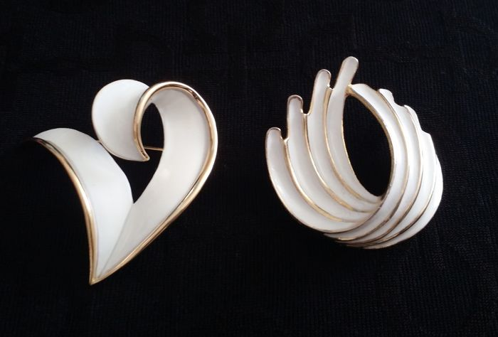 Crown Trifari and Torino White Enamel Brooches
