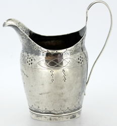 Antique Georgian solid sterling silver cream jar With Initials, London ca.1750, John Harvey I