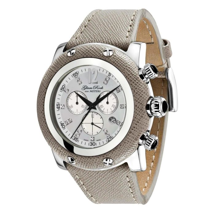 Glam Rock – women's watch, steel with grey leather and mother-of-pearl dial with diamond