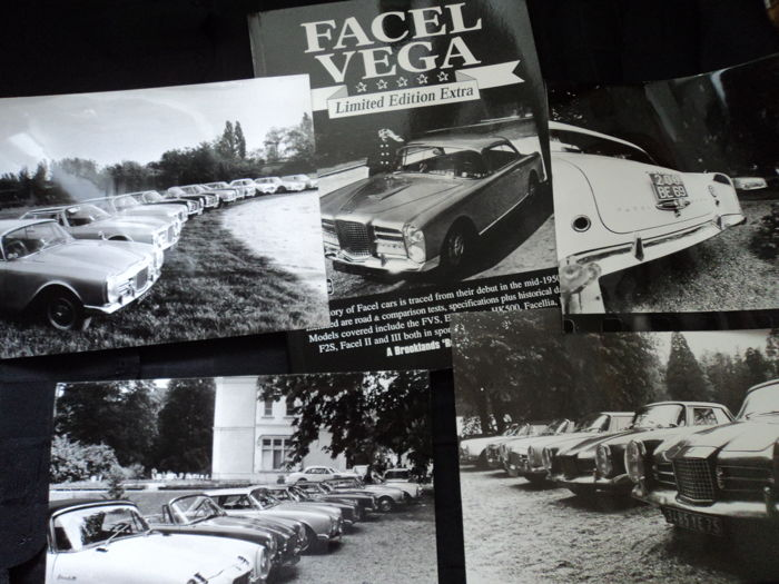 "1 Facel Vega limited edition extra Brookland Books and 4 photos and 4 original photos Facel Vega meeting ""Duchene"" , 90s"
