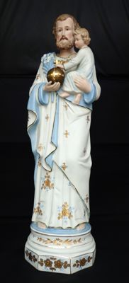 St. Joseph with baby Jesus - 1st half 20th century Germany - Biscuit/porcelain