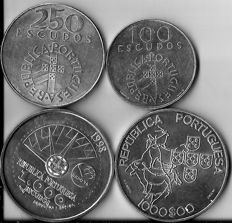 Portugal – 2 x 1,000 Escudos 1998, 2000 – 250 and 100 Escudos '25 Abril 1974' – Silver