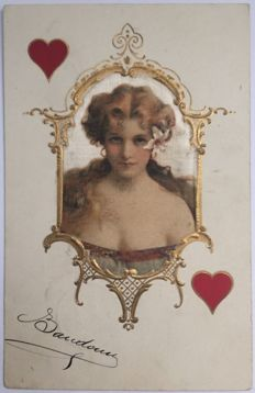 Lot of 4 very rare postcards WOMEN POKER. They have been posted all in the same year 1905, by the same sender, to the same recipient.