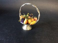 Silver basket with hand painted fruit. 1963. Italy
