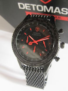 DETOMASO Firenze -SM1624C-BKM Men's Watch Chrono Stainless Steel Milanaise Mesh Band Black Red New- 10 ATM - New