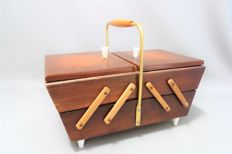 Folding wooden sewing-box - 1960s