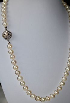 Necklace with round salt water pearls from Japanese sea with nice gloss. White gold clasp in flower shape.
