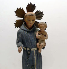 Polychrome wood carving of Sant Antonio de Padua with child, with a urn/chapel made of wood - Escuela Andaluza Española - 19th century