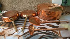 Lot of copper utensils in tin-plated red copper, made in France