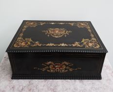 A Napoleon III brass and mother of Pearl inlaid blackened document or writing box - France - second half 19th century