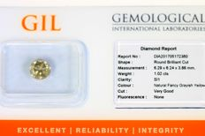 Diamond – 1.02 ct – Fancy Greyish Yellow – SI1 – No reserve.