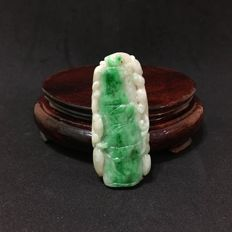 Vintage jadeite pendant carving of bamboo, 29 grams