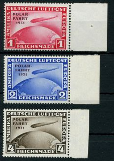 German Reich – Polar Flight Graf Zeppelin 1 RM, 2 RM, 4RM, Michel 456-458