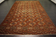 Antique hand-knotted art deco Oriental rug, Russian Buchara Jomut antique plant-coloured 225 x 340 cm
