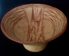 Pre-Columbian Cuasmal Carchi culture pottery bowl with geometric design - Colombia - 19,5 cm diameter