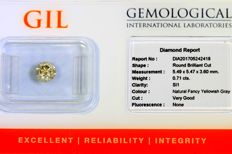 Diamant - 0.71 ct - Fancy Yellowish Gray - SI1 - Zonder Reserve Prijs