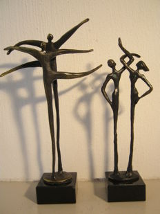"Corry Ammerlaan van Niekerk - lot of two signed sculptures - ""together"" & ""zorg voor elkaar"""
