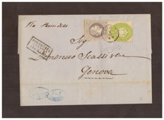 Lombardy-Venetia/Austrian Levant, 1864-67 – 3 soldi, yellowish green (no. 42a), 25 soldi, violet (large stamp), Unificato no. 6, on letter from Smirne to Genoa