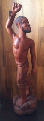 Wood carving slave, origin Haiti 1 meter, second half 20th century