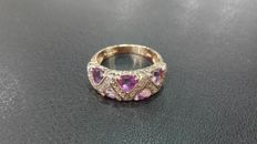 18 kt yellow gold ring with diamonds of 0.24 ct and amethysts – Size 21